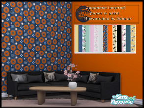 Sims 4 — Japanese Inspired Wallpaper & Paint by seimar8 — 14 swatches of Japanese inspired wallpaper & Paint Base