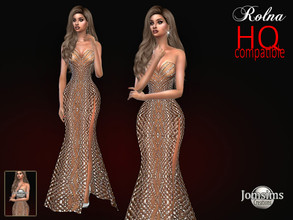 Sims 4 — Evening Rolna dress by jomsims — Evening Rolna dress Dress Sims 4 for her . long flesh-colored dress. split on