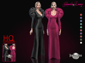 Sims 4 — Glenda long dress by jomsims — Glenda long dress Dress Sims 4 for her in 10 shades. long puff shoulder evening