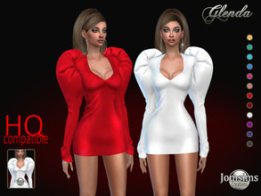 Sims 4 — Glenda short dress by jomsims — Glenda short dress Dress Sims 4 for her in 12 shades. short dress version.
