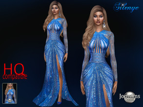 Sims 4 — Silenye dress by jomsims — Silenye dress Dress Sims 4 for her. long slit evening dress. blue color. with