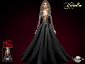 Sims 4 — Yeitella gown by jomsims — Yeitella gown Dress Sims 4 for her long dress couture open neckline Gold and black