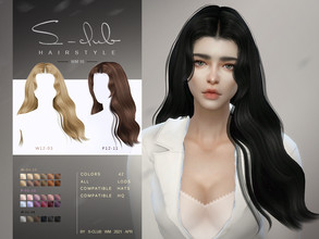 Sims 4 — S-Club ts4 WM Hair 202116 by S-Club — Hairstyle for female, 42 swatches, hope you like, thank you!!