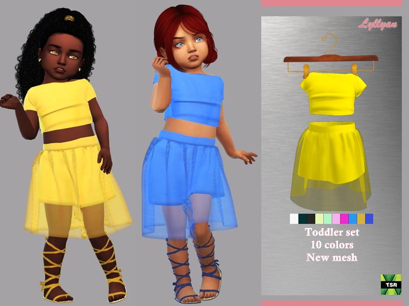 Sims 4 — Toddler set Amanda by LYLLYAN — Toddler set New Mesh 10 Swatches HQ compatible All lods Custom thumbnail