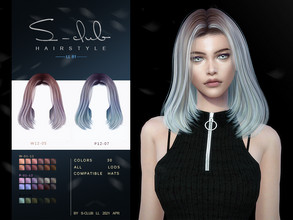 Sims 4 — sclub_ts4_hair_n81 by S-Club — Highlights for hair 30 swatches, hope you like, thank you!