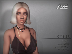 Sims 4 — Ade - Cyber Style 1 (Hairstyle) by Ade_Darma — New Hair Mesh 47 Colors HQ Textures No Morph Smooth Weight Works