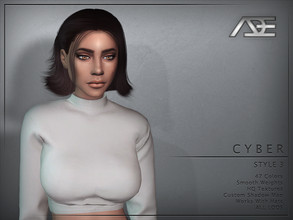 Sims 4 — Ade - Cyber Style 3 (Hairstyle) by Ade_Darma — New Hair Mesh 47 Colors HQ Textures No Morph Smooth Weight Works