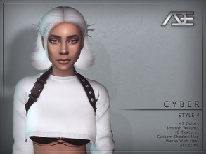 Sims 4 — Ade - Cyber Style 4 (Hairstyle) by Ade_Darma — New Hair Mesh 47 Colors HQ Textures No Morph Smooth Weight Works
