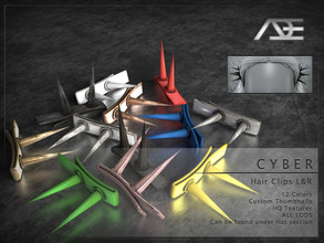 Sims 4 — Ade - Cyber (Hair Clips L&R) by Ade_Darma — **DESIGNED TO ONLY FIT CYBER HAIRSTYLES BY ADE** Cyber Hair