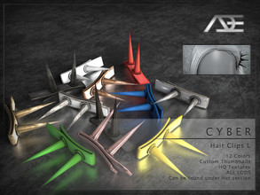 Sims 4 — Ade - Cyber (Hair Clips L) by Ade_Darma — **DESIGNED TO ONLY FIT CYBER HAIRSTYLES BY ADE** Cyber Hair Clips 12