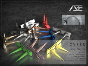 Sims 4 — Ade - Cyber (Hair Clips R) by Ade_Darma — **DESIGNED TO ONLY FIT CYBER HAIRSTYLES BY ADE** Cyber Hair Clips 12