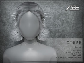 Sims 4 — Ade - Cyber (Bangs) by Ade_Darma — **DESIGNED TO ONLY FIT CYBER HAIRSTYLES BY ADE** Cyber Bangs 38 Colors HQ