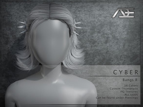 Sims 4 — Ade - Cyber (Bangs R) by Ade_Darma — **DESIGNED TO ONLY FIT CYBER HAIRSTYLES BY ADE** Cyber Bangs 38 Colors HQ