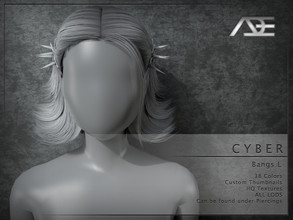 Sims 4 — Ade - Cyber (Bangs L) by Ade_Darma — **DESIGNED TO ONLY FIT CYBER HAIRSTYLES BY ADE** Cyber Bangs 38 Colors HQ