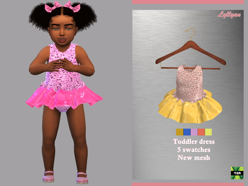 Sims 4 — Toddler Dress Samira by LYLLYAN — - New Mesh - All Lods -5 Swatches - Custom thumbnail - Compatible with HQ mod