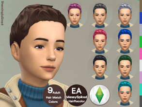 Sims 4 — Kid MessySpiked Hair Recolor by jeisse197 — Category : Hair Recolor - 9 EA Adult Match Colors In Age : Child The