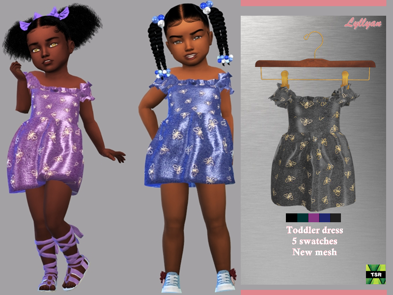 Sims 4 — Toddler dress Sofia by LYLLYAN — - New Mesh - All Lods -5 Swatches - Custom thumbnail - Compatible with HQ mod