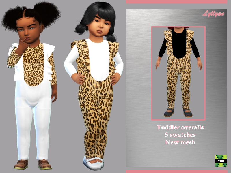 Sims 4 — Toddler overalls Sandra by LYLLYAN — - New Mesh - All Lods -5 Swatches - Custom thumbnail - Compatible with HQ