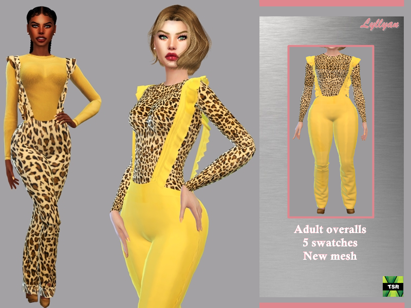 Sims 4 — Adult overalls Sandra by LYLLYAN — - New Mesh - All Lods -5 Swatches - Custom thumbnail - Compatible with HQ mod