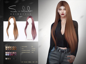 Sims 4 — S-Club ts4 LW Hair 202101 by S-Club — Long hairstyles, 36 swatches, hope you like, thank you!