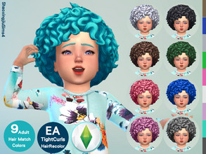 Sims 4 — Toddler EF03TightCurls Hair Recolor by jeisse197 — To fix all errors in the 2019 version,Match aliens, please