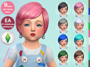 Sims 4 — Toddler MidSwept Hair Recolor by jeisse197 — To fix all errors in the 2019 version,Match aliens, please download