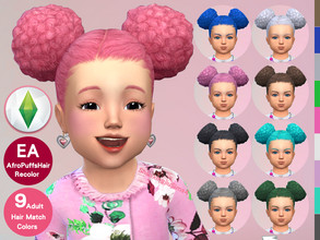 Sims 4 — Toddler EF29AfroPuffs Hair Recolor by jeisse197 — To fix all errors in the 2019 version,Match aliens, please
