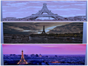 Sims 4 — Paris Murals by sweetheartwva — 3 different views of the Eiffel Tower in Paris.
