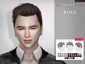 Sims 4 — Binz ( Hair 148 ) by TsminhSims — New meshes - 30 colors - HQ texture - Custom shadow map, normal map - All LODs