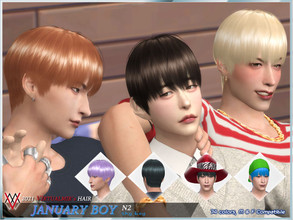 Sims 4 — '21 January boy hair(N2) - Shy boy by virtualmir — 74 colors male & female compatible(no child) hats mesh