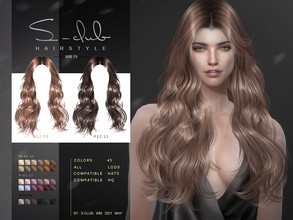 Sims 4 — S-Club ts4 WM Hair 202119 by S-Club — Hairstyle, 45 swatches, hope you like, thank you.