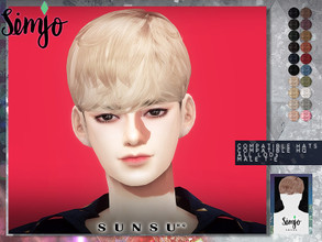 Sims 4 — Simjo_Sunsu_Hair by KIMSimjo — New Hair Mesh(Alpha) 20 Swatches All LODs Male T-E Compatible with Hats Custom