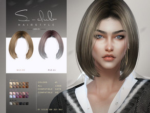Sims 4 — S-Club ts4 WM Hair 202120 by S-Club — Hairstyle for female, 45 swatches, hope you like thank you!