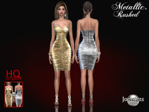 Sims 4 — Metallic rushed dress by jomsims — Metallic rushed dress Dress Sims 4 for her in 9 shades. rushed metal dress.