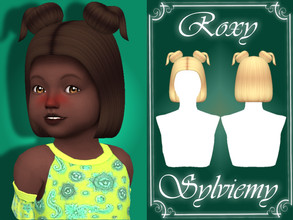 Sims 4 — Roxy Hairstyle (Toddler) by Sylviemy — New Mesh Maxis Match All Lods Base Game Compatible Hat Compatible Toddler