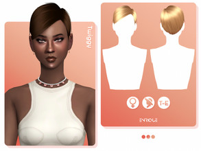 Sims 4 — EnriqueS4 - Twiggy Hairstyle by Enriques4 — New Mesh 18 Swatches All Lods Base Game Compatible Teen to Elder Hat