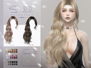 Sims 4 — S-Club ts4 WM Hair 202121 by S-Club — Hairstyle, 48 swatches, hope you like, thank you!!