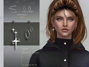 Sims 4 — S-Club ts4 WM Earrings 202108 by S-Club — Earrings 5 swatches, hope you like, thank you!