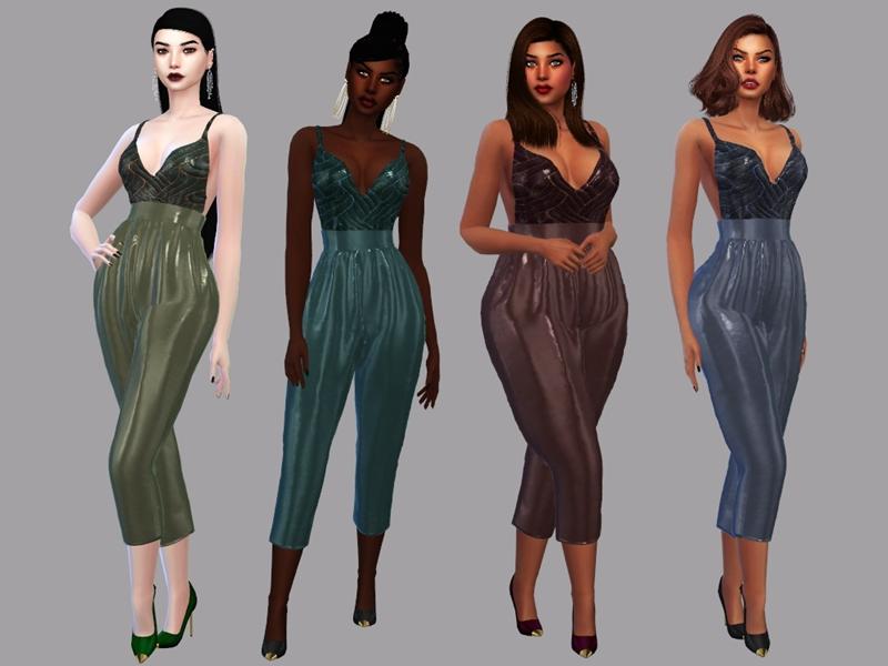 Sims 4 — Women's jumpsuit - Tatiana by LYLLYAN — -Women's jumpsuit -5 swatches -New mesh -All Lods -Custom thumbnail