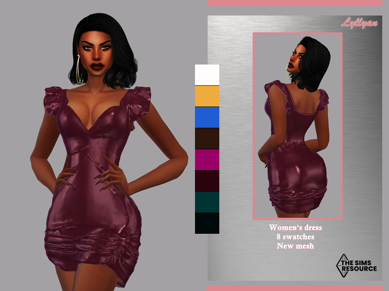Sims 4 — Women's dress Janice by LYLLYAN — Women's dress in 8 swatches -New Mesh -All Lods -Custom thumbnail -Compatible