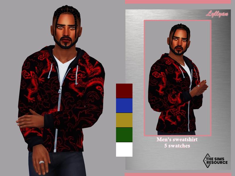 Sims 4 — Men's sweatshirt -Paulo by LYLLYAN — Men's sweatshirt dragon print in 5 colors.