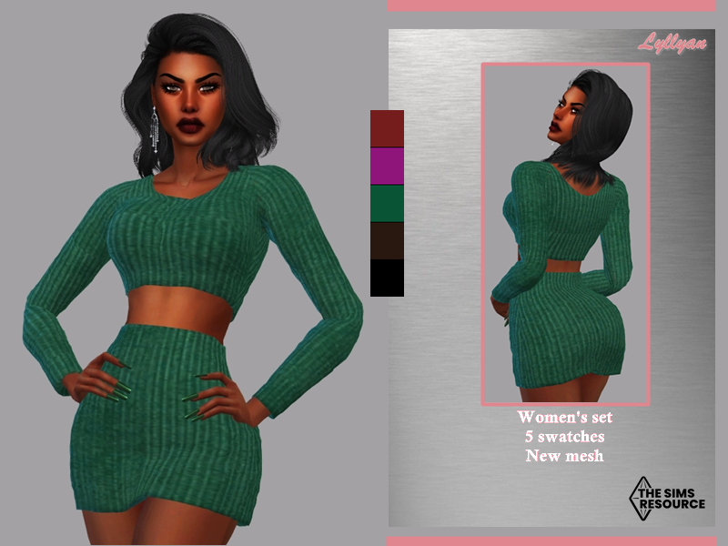 Sims 4 — Women's set -Talia by LYLLYAN — Women's set Skirt and top in 5 swatches.