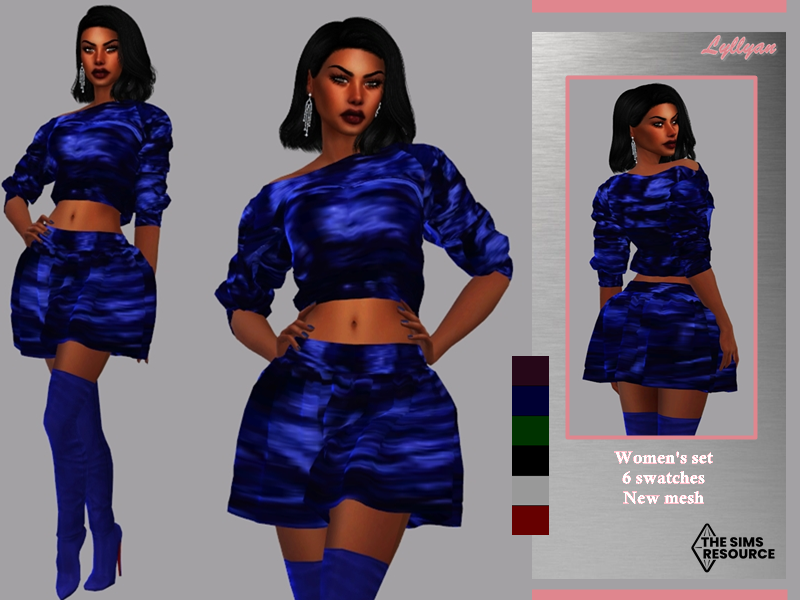 Sims 4 — Women's set Telma by LYLLYAN — Women's set Skirt and top in 6 swatches.