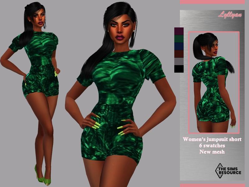 Sims 4 — Women's jumpsuit short-Karol by LYLLYAN — Women's jumpsuit short in 6 colors.