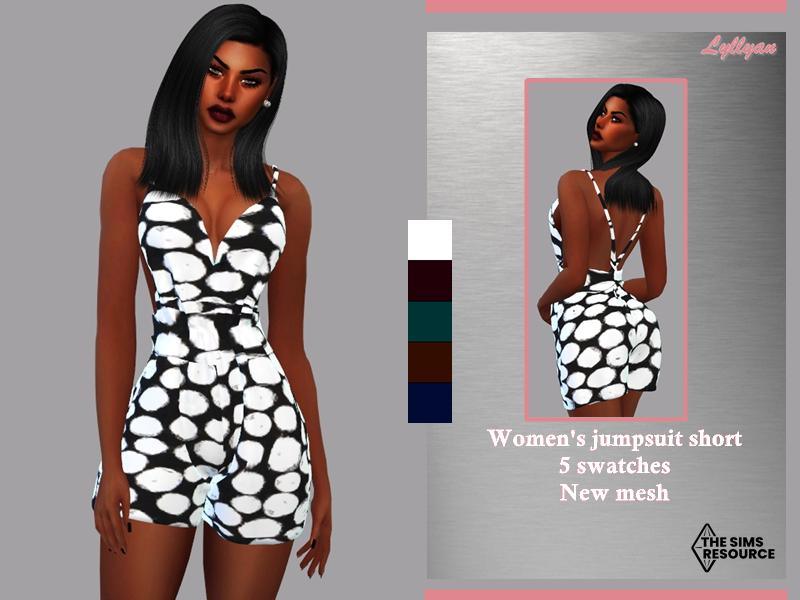 Sims 4 — Women's jumpsuit short-kamila by LYLLYAN — Women's jumpsuit short in 5 colors.