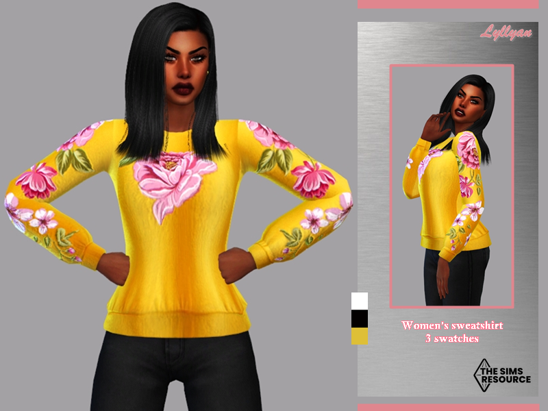 Sims 4 — Women's sweatshirt / top-Rafaely by LYLLYAN — Women's sweatshirt in 3 swatches/top