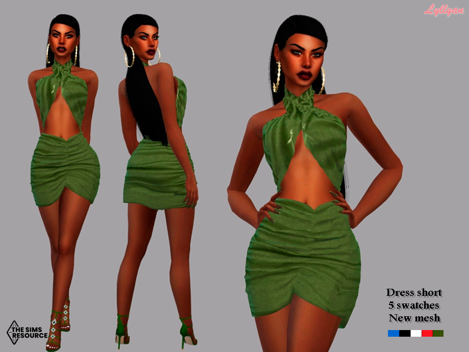 Sims 4 — Dress - Paloma by LYLLYAN — Dress short in 5 swatches