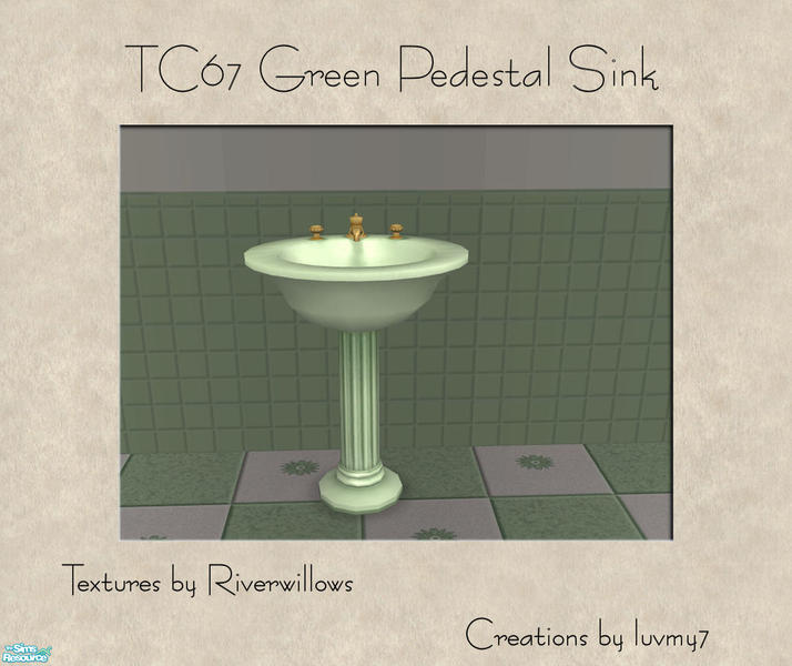 Superbe TC67 Green Bathroom Set   Green Pedestal Sink