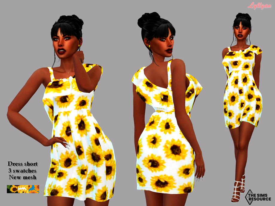 Sims 4 — Dress adult- Bianca by LYLLYAN — Dress in 3 swatches