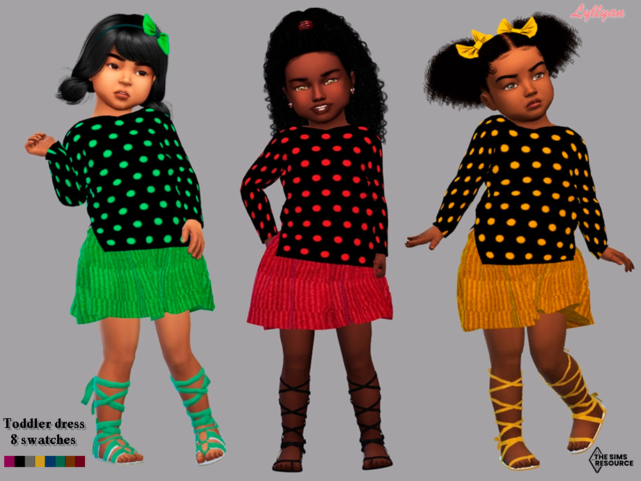 Sims 4 — Toddler dress- Aila by LYLLYAN — Toddler dress in 8 swatches .